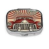 Tarjeta de felicitación turística vintage de La Habana con coche retro Cuba pastillero cuadrado antiguo Cajas decorativas Pastillero Tableta de medicina
