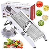 Karidge Mandoline Slicer – Adjustable Thickness Vegetable Slicer, Fruit Slicer, French Fry Cutter, Food Waffle – Sharp Stainless Steel Blades