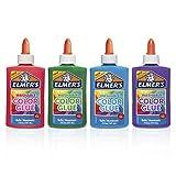 Elmer's - Colla colorata lavabile, ideale per fare melma, colori assortiti, 141,7 g ciascuna, 4 pezzi
