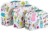 Brandsseller Caja de regalo con diseño infantil, caja con asa, caja de cartón estable, juego de 3 en tamaño descendente.