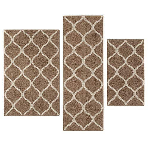 Maples Rugs Kitchen Rug Set - Rebecca [3pc Set] Non Kid Accent Throw Rugs Runner [Made in USA] for Entryway and Bedroom, Caf Brown/White