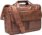 Mens Laptop Bag,17.3 Inch Leather Messenger Bag Water Resistant Business Travel Briefcase, Work Computer Bag Satchel Bag Husband(Brown)