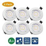 KINGSO 6 Pack Spots LED Encastré GU10 5W 500lm Spots de Plafond Blanc...