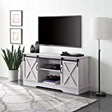 BELLEZE Modern Farmhouse 58' Sliding Barn Door TV Stand Console with Storage for TVs Up to 65', Sargent Oak