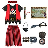 Lingway Toys Kids Pirate Costume,Pirate Role Play Dress Up Completed 8pcs Set for Kids 5-6years