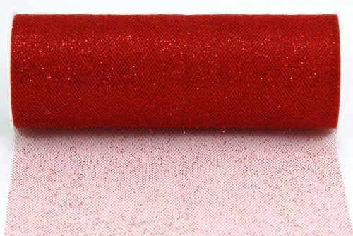 Red Glitter Tulle Fabric