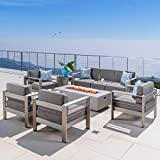 Crested Bay Patio Furniture ~ 5 Piece Light Gray Outdoor Patio Chair and Sofa Set with Propane (Gas) Fire Table (Pit) and Khaki Cushions