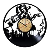 ForLovedGifts Harley Quinn DC Design Vinyl Wall Clock – Handmade Gift for Any Occasion – Unique Birthday, Wedding, Anniversary, Wall décor Ideas for Any Space
