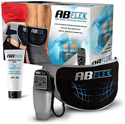 ABFLEX Cintura Addominale per Muscoli Addominali snelli e tonici - Nessun Cuscinetto di Ricambio mai - Comodo Telecomando per regolazioni Facili e veloci - per Risultati rapidi (Nero)