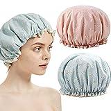 Bonnet de douche, TooCoo Double couches imperméables Chapeau de douche pour...