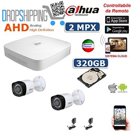 GENERAL TRADERS - KIT VIDEOSORVEGLIANZA AHD DAHUA TELECAMERE INFRAROSSI 2 MPX IP CLOUD DVR HD 320 GB