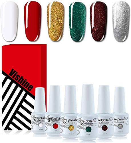 Vishine Soak Off UV LED Gel Nail Polish Color Set Of 6pcs X 8ml (Glitter Gold, Silver, Green, Red, White,) - Christmas Special Edition Nail Art Gift Set
