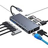 Hub C USB, 13 en 1 Hub USB de type C avec Ethernet, 4K HDMI, VGA, 3 USB 2.0, 2 USB 3.0, lecteur de carte 3 emplacements, audio 3,5 mm et alimentation, adaptateur USB C compatible avec MacBook Pro