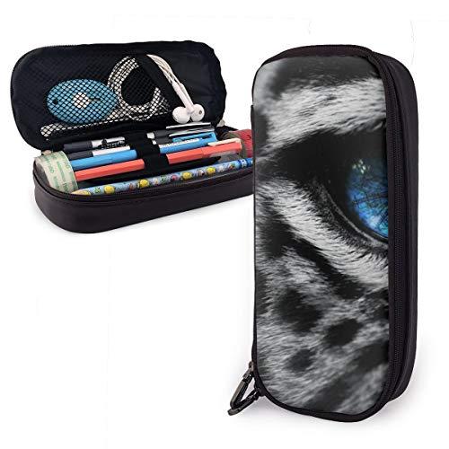 Astuccio con occhi blu leopardati per ragazzi e ragazze, grande astuccio portapenne per studenti,...