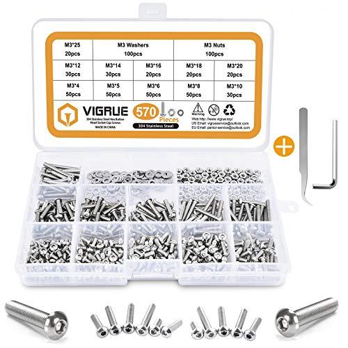 VIGRUE 570PCS Stainless Steel M3 Button Head Hex Socket Cap Screw Bolts, M3 x 4/5/6/8/10/12/14/16/18/20/25mm Screw and Nuts Flat Washer Assortment Kit, Fully Machine Thread