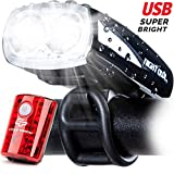 Cycle Torch Night Owl USB Rechargeable Bike Light Set, Perfect Commuter Safety Front and Back Bicycle Light LED Combo – Free Bright Tail Light - Compatible with Mountain, Road, Kids & City Bicycles