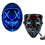 LEWOTE Halloween Mask, LED Light Up Mask for Halloween Festival Cosplay Costume Party (Black-Blue)