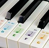 QMG Autocollants pour clavier de piano de couleur 49/61 / 76/88 touches - Transparent et amovible : fabriqué aux États-Unis
