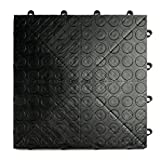 GarageDeck Coin Pattern, Durable Interlocking Modular Garage Flooring Tile (24 Pack), Black