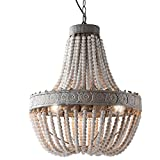 Newrays Wood Beaded Chandelier Pendant Three Lights Gray White Finishing Retro Vintage Antique Rustic Kitchen Ceiling Lamp Light Fixtures
