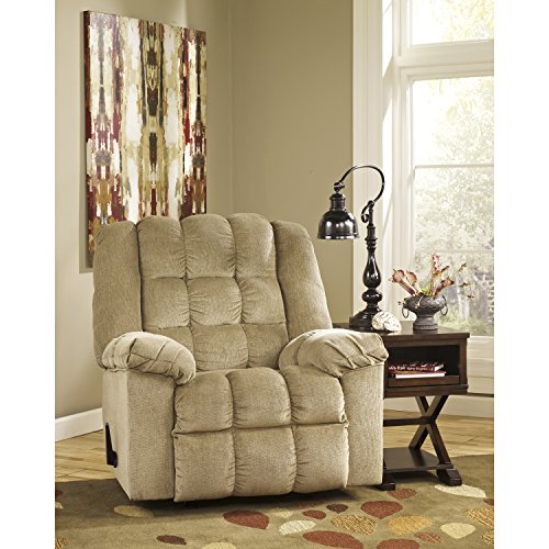 Flash Furniture Signature Design by Ashley Ludden Rocker Recliner in Sand Twill
