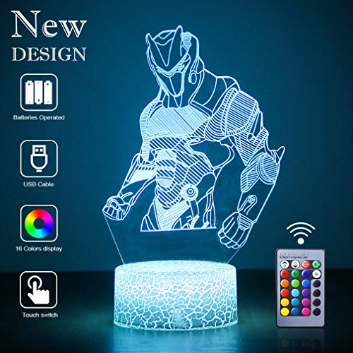 Omega 3D LED Lampe mit Motiven aus festungslampe, 3d illusion lampe Stimmungslampe, Battle Royale, mit 7 Farben Farbwechsel, Crack Acryl, Stereo Illusion Tischlampe