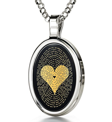 925 Sterling Silver Love Necklace 24k Gold Inscribed with I Love You in 120 Languages Including Braille and Sign Language on Oval Black Onyx Gemstone Anniversary Pendant, 18' Chain