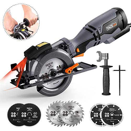 TACKLIFE Circular Saw with Metal Handle, 6 Blades(4-3/4' & 4-1/2), Laser Guide, 5.8A, Max Cutting Depth 1-11/16'' (90), 1-3/8'' (45), Ideal for Wood, Soft Metal, Tile and Plastic Cuts - TCS115A