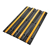 Reliancer 4 Pack 1-Channel Rubber Cable Protector Ramp Traffic Speed Bump 18000lbs Capacity Heavy Duty Cable Protective Cover Ramp Driveway Hose Cord Track Protector Wires Concealer for Garage Parking