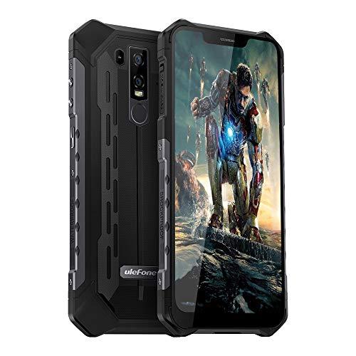 4G Rugged Phones Unlocked Ulefone Armor 6E, Waterproof Rugged Cell Phones Unlocked 4G Dual Sim 4G 6.2' FHD Android 9.0 Helio P70,4GB+64GB,5000Mah,NFC+ Face ID+ UV Senso+GPS+Wireless Charge Black