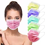 HIWUP Disposable Face Masks 3 Layer Multicolored Face Mask For Women & Men Suitable For Adults And Teenagers Breathable Pack of 50 (5 colors)
