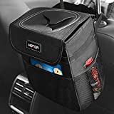 HOTOR Car Trash Can with Lid and Storage Pockets, 100% Leak-Proof Car Organizer, Waterproof Car...