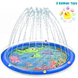 Vmini Sprinkler for Kids, Splash Pad, and Wading Pool for Learning – Children's Sprinkler Pool, 68'' Inflatable Water Toys Outdoor Swimming Pool for Babies and Toddlers