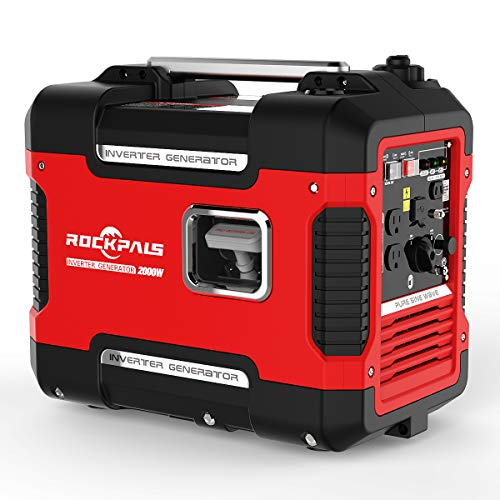 ROCKPALS 2000-Watt Super Quiet Inverter 9 Hours Time Portable Camping Gas Power Generator CARB Compliant with Eco-Mode, Parallel Ready, 1800W, Dual 120V AC Outlet
