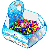 KingBee Ball Pit Pop Up Children Play Tent, Ocean Pool Baby Playpen with Basketball Hoop - Toys Gifts for Kids Girls Boys Toddlers 1 2 3 4 5 6 12 Months Year Old - Balls Not Included