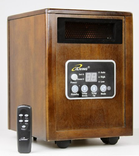 New iLIVING Infrared Portable Space Heater with Dual Heating System, 1500W, Dark Walnut Wooden Cabinet