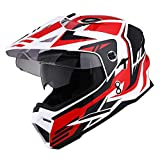 1Storm Dual Sport Motorcycle Motocross Off Road Full Face Helmet Dual Visor Storm Force Red, Size Small