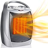 Minetom Portable Electric Space Heater 1500W/750W, Ceramic Room Heater with Tip-Over and Overheat Protection, 200 sq. Ft Fast Heating for Indoor Office Desk Home, ETL Certified, Sliver