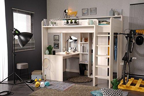 Wohnorama 90x200 Hochbett inkl integrierter Schreibtisch u Schrank Higher 1b von Parisot Nordische Esche by