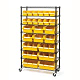 Seville Classics Commerical Grade NSF-Certified Bin Rack Storage Steel Wire Shelving System - 24 Bins - Yellow