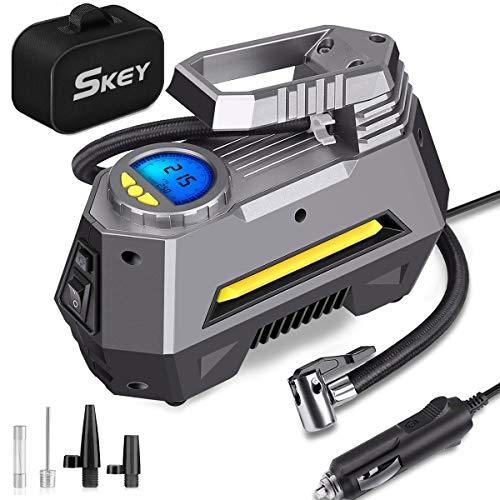 SKEY Compresseur Voiture - 150 PSI Gonfleur Pneus Voiture avec Fusible, 4 Embouts de Rechange, Compresseur d'air Electrique Digital avec LED (M-1)