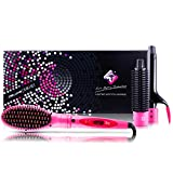 Professional Hairstyling Royale 3 Piece Straightener Brush Set – Interchangeable Attachments - Volumizes, Straightens and Curls - Tourmaline Technology – Pink