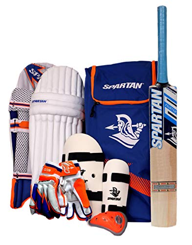 SPARTAN Kashmir Willow Original Complete Batting Cricket Set with Accessories for Juniors (Size 6, 12-14 Years Old)