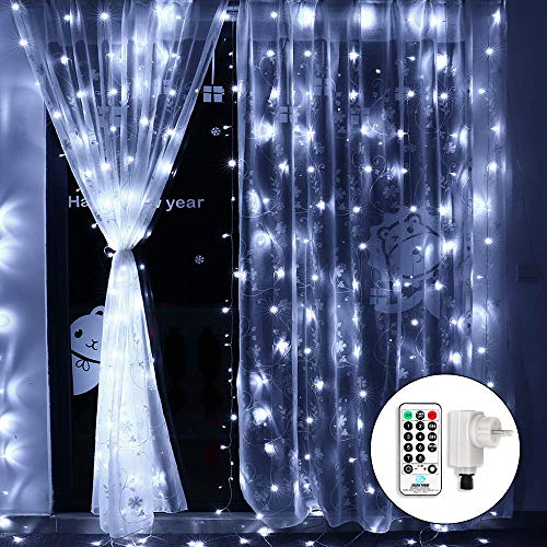Qedertek Cascata di Luci Esterno ed Interno, Tenda Luminosa Prolungabile 3x3 m 300 LED, Tenda di...