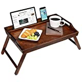 Rossie Home Media Bed Tray with Phone Holder - Fits Up To 17.3 Inch Laptops and Most Tablets - Espresso Bamboo - style No. 78112