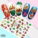 Decoración de uñas Navidad, Deesospro® 10 Hojas Semipermeable Delgado Adhesivo 3D Diseño arte de uñas Sticker Tip Decal Manicure patrón de...