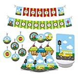 W&N Distribution Wheels on The Bus Birthday Party Decorations. Includes Party Hats, Centerpieces, Bunting Banner, Danglers and Cupcake Toppers