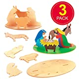 Baker Ross Nativity 3D Wooden Scenes Perfect for Xmas Children's Arts, Crafts and Decorating for Boys and Girls (Pack of 3)