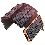 Chargeur Solaire 25000mAh ADDTOP Portable Batterie Externe avec 4 Panneaux Imperméable Power Bank...