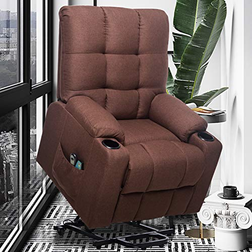 ERGOREAL Power Lift Chair Recliners for Elderly Heat&Massage Electric Recliner Lift for Seniors, Heavy Duty Lift Recliner Linen Fabric with Remote Control, Motorized Single Sofa-Brown